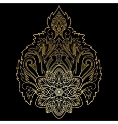 Gold lotus abstract sign vector