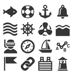 sea sailing icons set vector image vector image