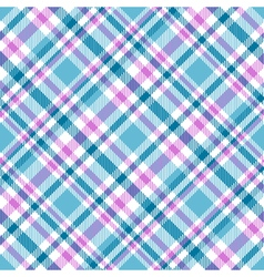 Seamless tartan plaid pattern in pink white cyan vector