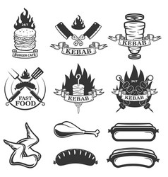 Set of fast food emblems and design elements vector
