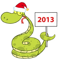 Snake With Santa Hat Holding Up A Blank Sign vector image