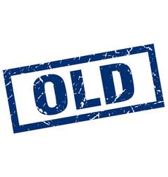 Square grunge blue old stamp vector