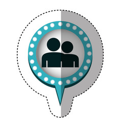 Sticker of couple in circular speech with blue vector