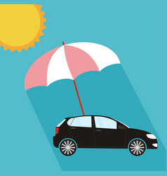 Umbrella protecting car against sun flat style vector