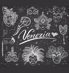 Venice italy sketch carnival venetian masks hand vector