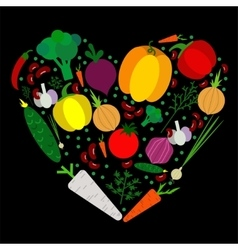 Paper vegetables flat style set in heart on a vector
