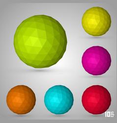 polygonal sphere set color vector image