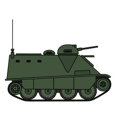 Old green armored vehicle vector