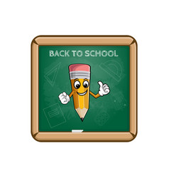 Yellow cartoon pencil school board with text back vector