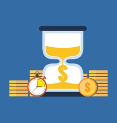 Time is money concept flat design stylish isolated vector
