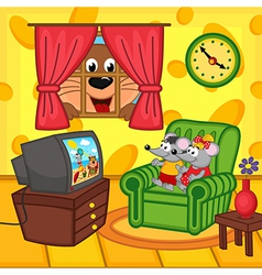 Mouse watching television at home vector