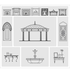 Icons of fireplaces and architectural elements vector