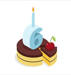 6 years birthday cake isometrics number six with vector