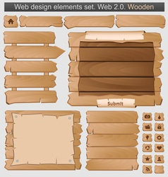 wooden web elements set vector image