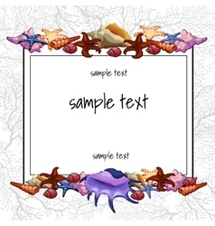 Shells and shellfish of the text frame vector