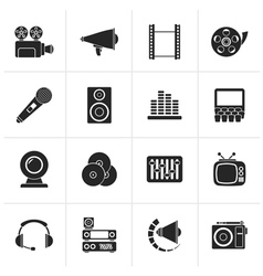 Black audio and video icons vector