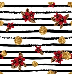 Seamless pattern with flowers stripes and golden vector