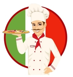 Italian pizza chef with funny mustache vector