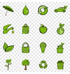 Eco set icons vector