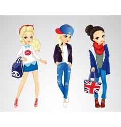 Girls dressed in jeens style vector