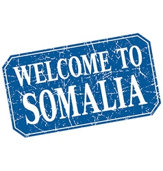 Welcome to somalia blue square grunge stamp vector