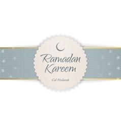 Ramadan kareem eid mubarak textile emblem vector