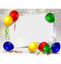 Birthday card with colorful balloons vector