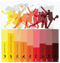World sport isolate action icon set vector
