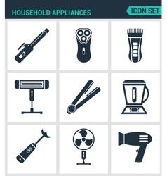 Set modern icons household appliances hair vector