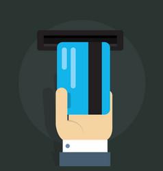 a man s hand and bank card vector image