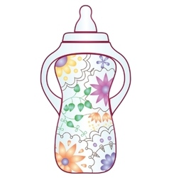 Baby feeding bootle with gradient flowers vector image
