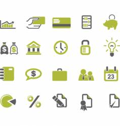 banks and business icons set vector image vector image