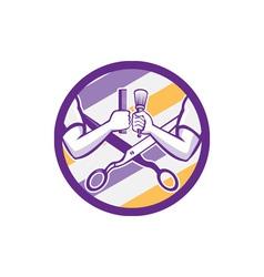 Barber Hand Comb Brush Scissors Circle Retro vector image vector image