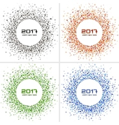 Bright Colorful New Year circle frames Backgrounds vector image