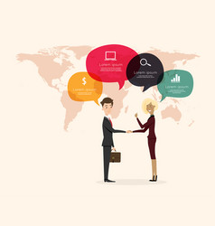 businessman handshake with world map background vector image vector image