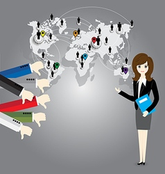 Businesswoman with world map and Thumb down vector image vector image