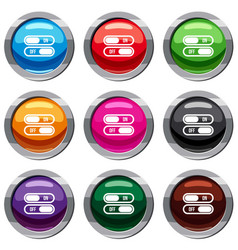 Button on and off set 9 collection vector
