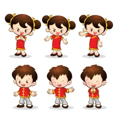 chinese boy girl vector image vector image