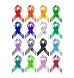 Colorful awareness ribbons vector image vector image