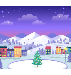 decorated christmas town with houses and ice vector image vector image