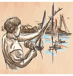 Fishing fisherman - an hand drawn line art vector