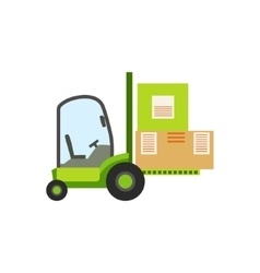 Green forklift warehouse car lifting the paper box vector