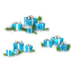 Heaps of gift boxes realistic set vector
