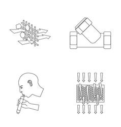 Man bald head hand water filtration system set vector