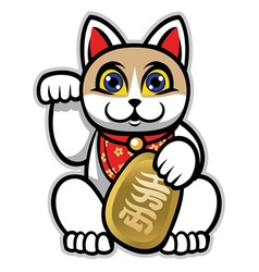 Maneki neko japanese lucky cat statue vector