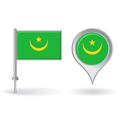 Mauritanian pin icon and map pointer flag vector