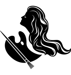 Muse of painting black stencil for stickers vector