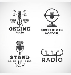 Online radio and microphone abstract vector
