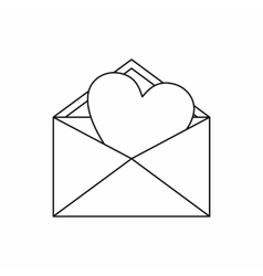 Open envelope with heart icon outline style vector image vector image