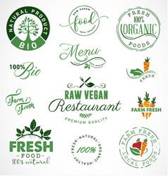 Raw vegan restaurant farm fresh organic labels vector